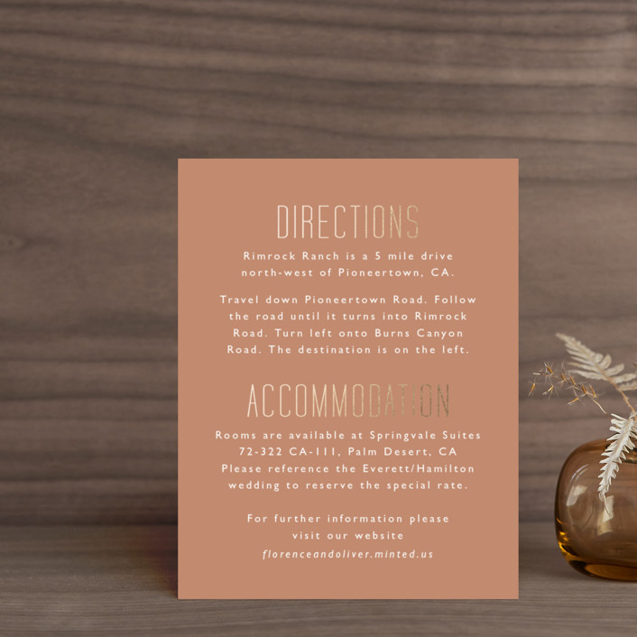 """""""desert dream"""" - Foil-pressed Direction Cards in Desert by Caitlin Considine."""