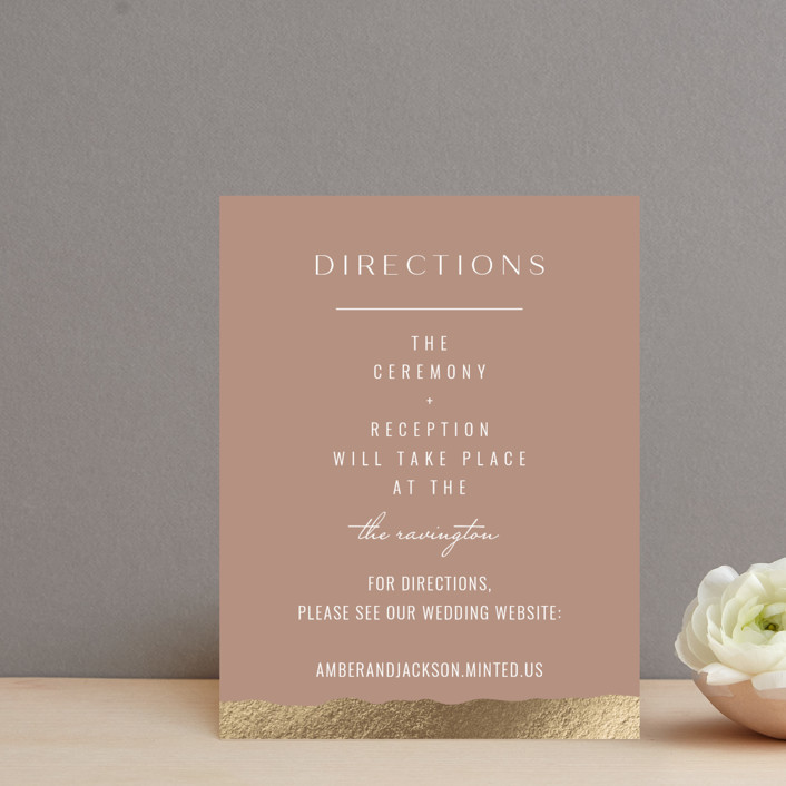 """Eternal Love"" - Foil-pressed Direction Cards in Rose Dust by Bliss Design Studio."