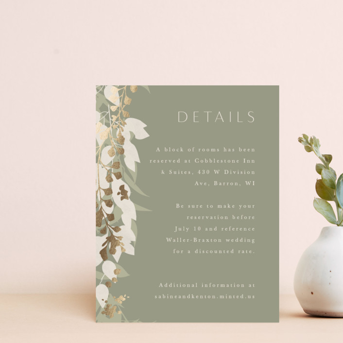 """""""Native Botanical"""" - Foil-pressed Direction Cards in Honeysuckle by Corinne Malesic."""