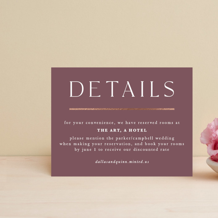 """The Minimalist"" - Foil-pressed Direction Cards in Mauve by Jana Volfova."