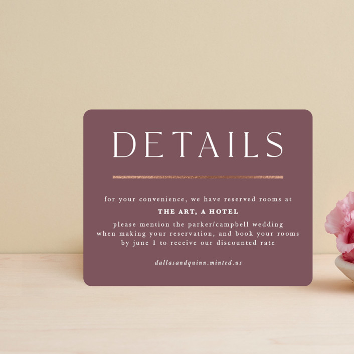 """""""The Minimalist"""" - Foil-pressed Direction Cards in Mauve by Jana Volfova."""
