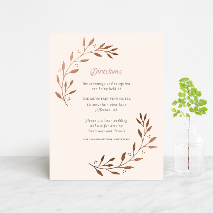 """Vineyard"" - Foil-pressed Direction Cards in Blush by Tennie and Co.."