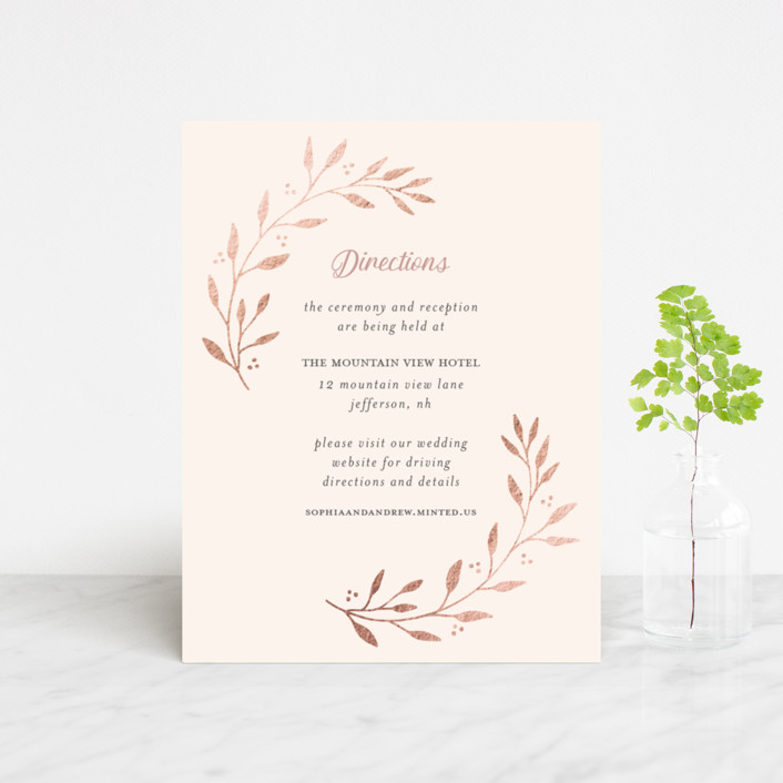 """""""Vineyard"""" - Foil-pressed Direction Cards in Blush by Tennie and Co.."""