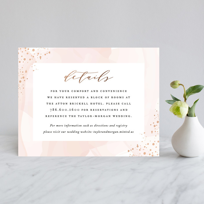 """Formal Watercolor"" - Modern Foil-pressed Direction Cards in Bashful by Jennifer Postorino."
