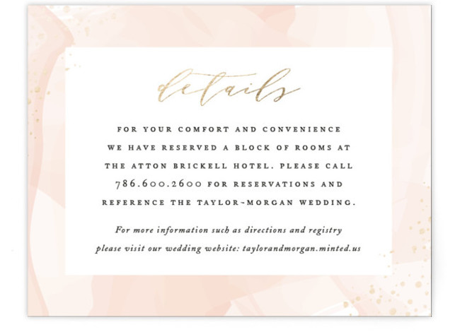 This is a modern, painterly, pink, gold Direction Cards by Jennifer Postorino called Formal Watercolor with Foil Pressed printing on Signature in Card Flat Card format. This elegant wedding invitation features a beautiful watercolor background, flecks of foil and sophisticated ...