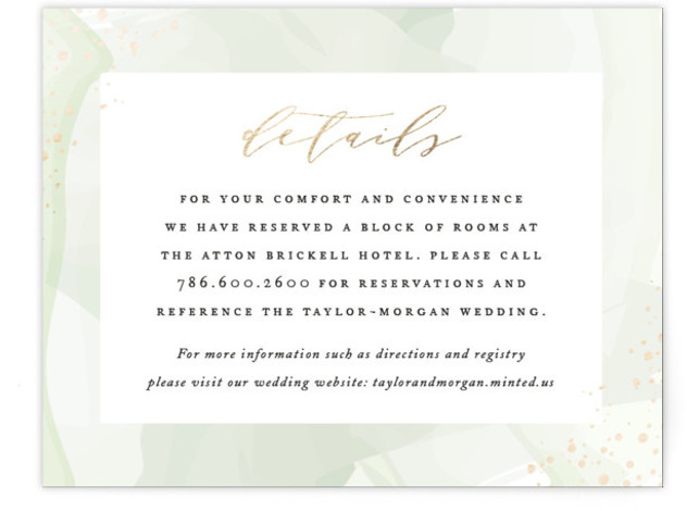 This is a modern, painterly, green, gold Direction Cards by Jennifer Postorino called Formal Watercolor with Foil Pressed printing on Signature in Card Flat Card format. This elegant wedding invitation features a beautiful watercolor background, flecks of foil and sophisticated ...