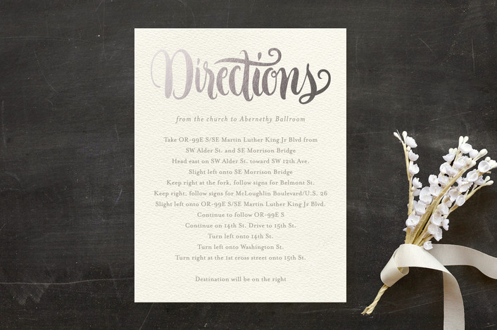"""Painted Simplicity"" - Foil-pressed Direction Cards in Silver by Laura Bolter Design."