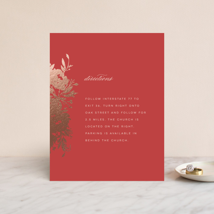 """""""Beauty"""" - Simple, Floral & Botanical Foil-pressed Direction Cards in a by Lori Wemple."""