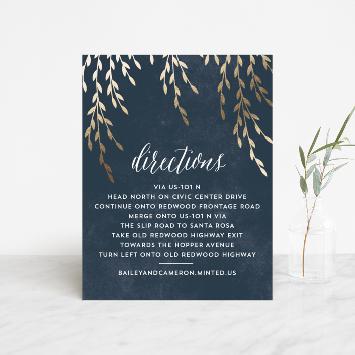 """Foil Foliage"" - Rustic Foil-pressed Direction Cards in Midnight Blue by Anupama."