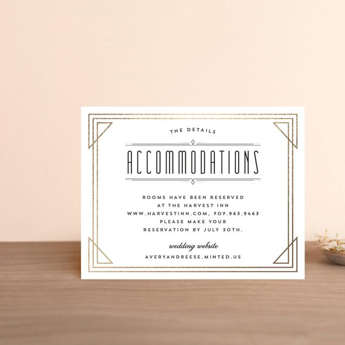 """Framed Deco Elegance"" - Vintage Foil-pressed Direction Cards in Classic White by Kelly Schmidt."