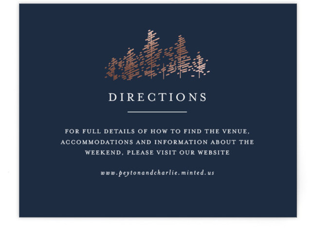 This is a landscape illustrative, simple and minimalist, blue, rosegold Direction Cards by Bethan called Golden Pines with Foil Pressed printing on Signature in Card Flat Card format. An elegant invitation, perfect for a woodland wedding, featuring a foiled forest ...