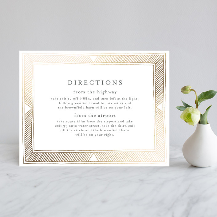 """Hand Drawn Gilded Frame"" - Bohemian Foil-pressed Direction Cards in Gold by Katharine Watson."