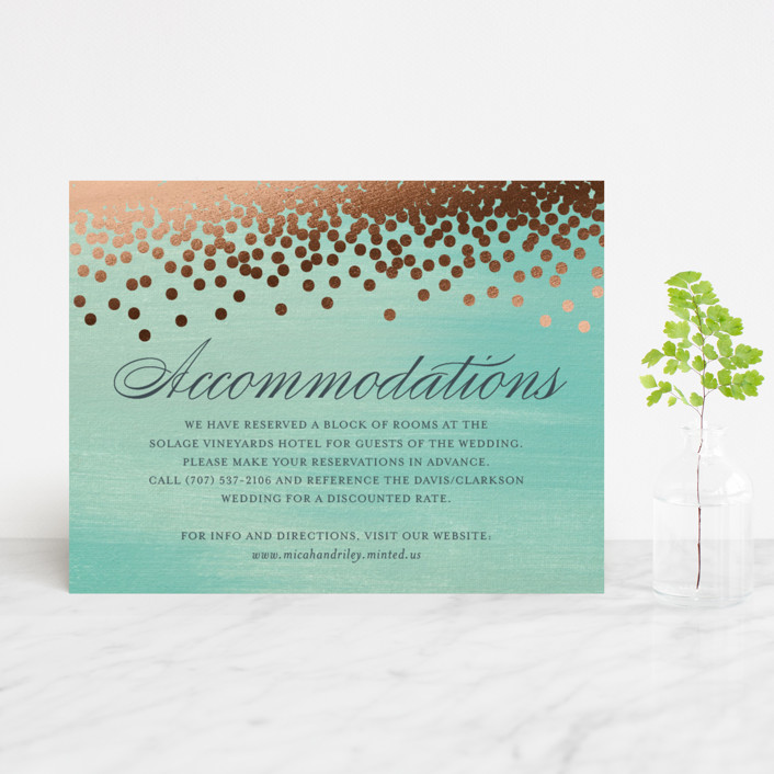 """Confetti"" - Bohemian, Whimsical & Funny Foil-pressed Direction Cards in Teal by Eric Clegg."
