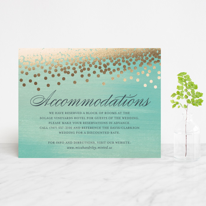 """""""Confetti"""" - Bohemian, Whimsical & Funny Foil-pressed Direction Cards in Teal by Eric Clegg."""