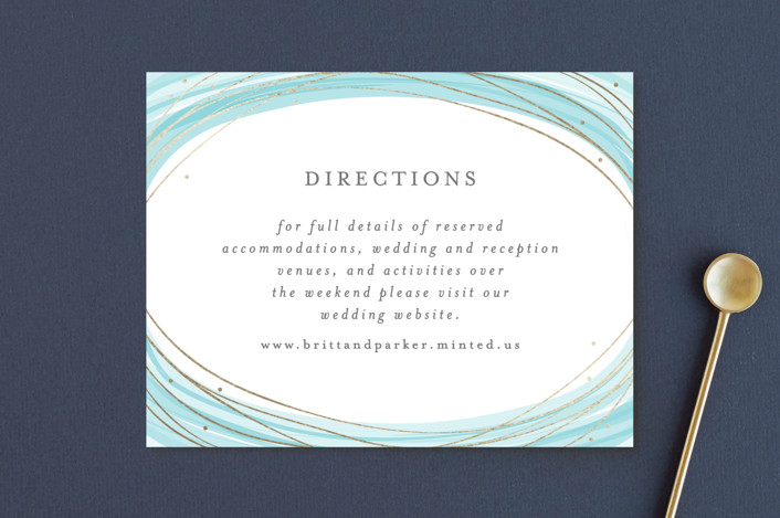 """Watercolour Wreath"" - Bohemian Foil-pressed Direction Cards in Teal by Bethan."
