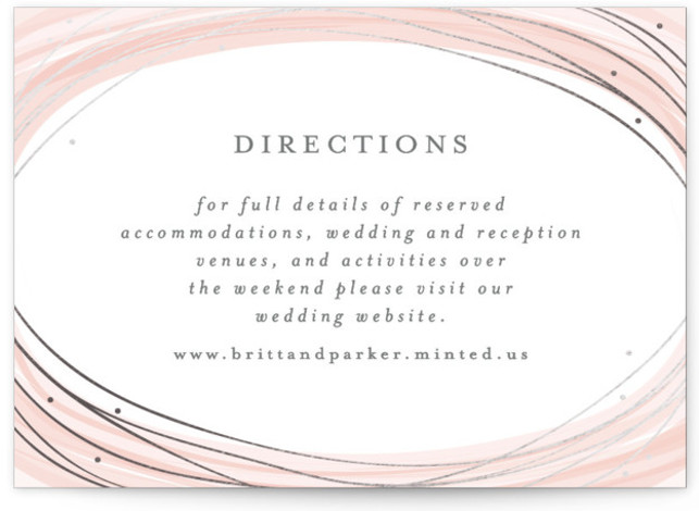 This is a landscape bohemian, illustrative, painterly, pink Direction Cards by Bethan called Watercolour Wreath with Foil Pressed printing on Signature in Card Flat Card format. A modern and elegant save the date design with a gold foil detail.