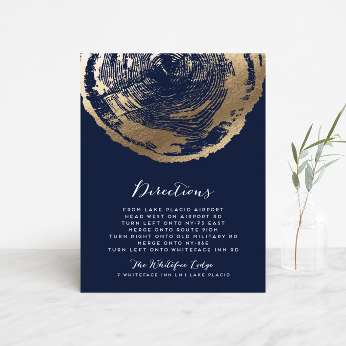 """""""Ponderosa"""" - Rustic, Bohemian Foil-pressed Direction Cards in Starry by shoshin studio."""