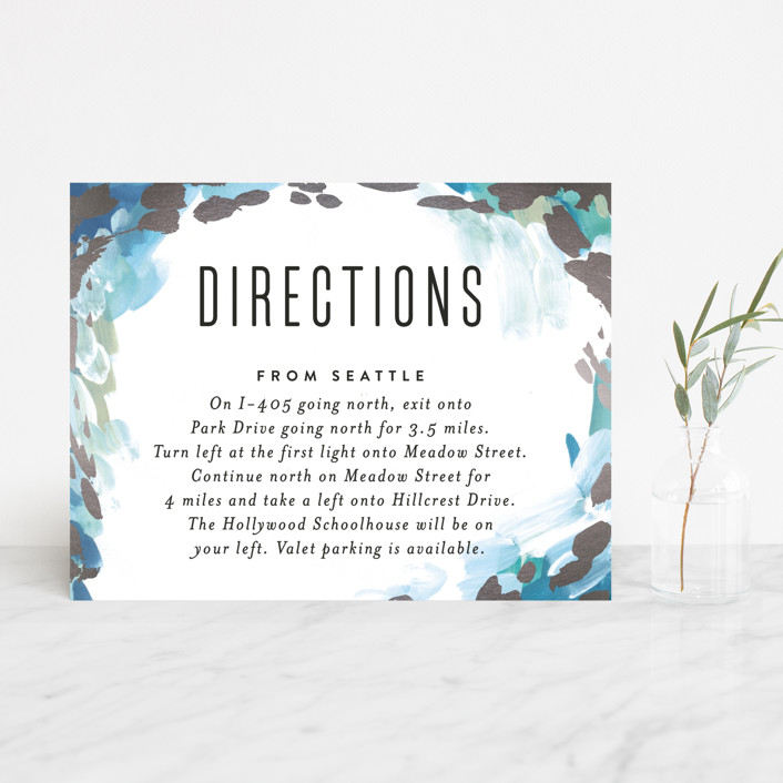 """Gallery Abstract Art"" - Bohemian Foil-pressed Direction Cards in Ocean by Alethea and Ruth."