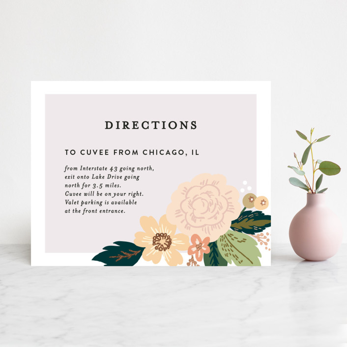 """""""Classic Floral"""" - Floral & Botanical Foil-pressed Direction Cards in Spring Blush by Alethea and Ruth."""