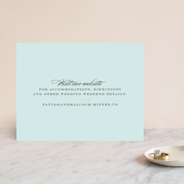 """""""Charming Go Lightly"""" - Monogrammed, Elegant Foil-pressed Direction Cards in Sky Blue by danielleb."""