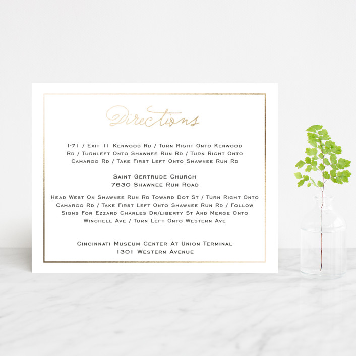 """""""Estate"""" - Preppy Foil-pressed Direction Cards in Blush by Kim Dietrich Elam."""