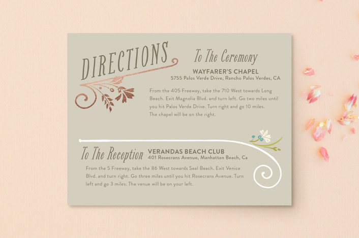 """Delicate Blooms"" - Rustic Foil-pressed Direction Cards in Stone by GeekInk Design."