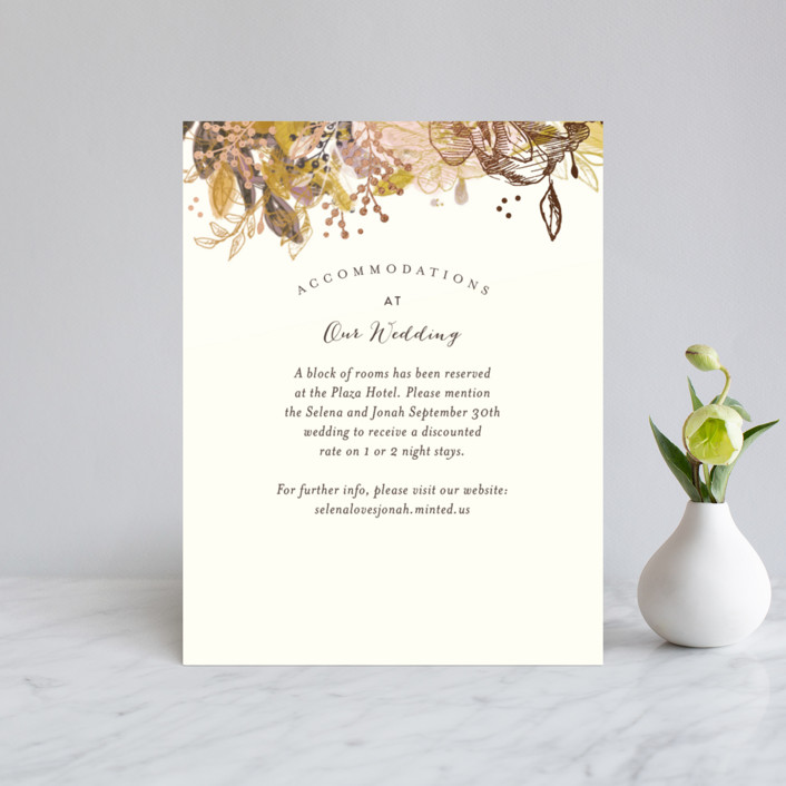 """""""Floral Feast"""" - Foil-pressed Direction Cards in Rose Gold by Phrosne Ras."""