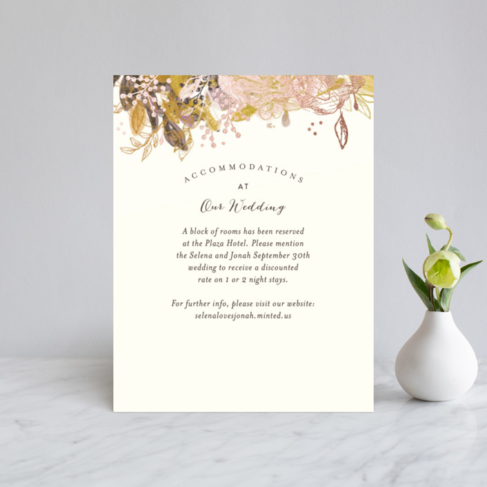 """Floral Feast"" - Foil-pressed Direction Cards in Rose Gold by Phrosne Ras."