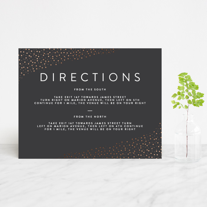 """Modern Glam"" - Foil-pressed Direction Cards in Soft Black by Robinson Paperie."
