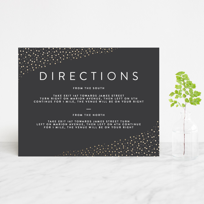 """""""Modern Glam"""" - Foil-pressed Direction Cards in Soft Black by Robinson Paperie."""