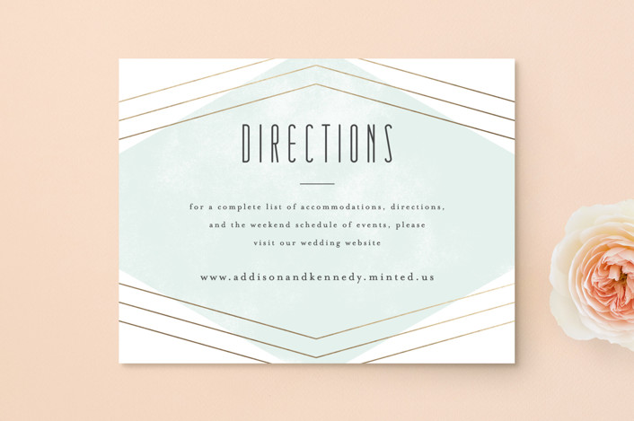 """""""Elegant Angles"""" - Foil-pressed Direction Cards in Mint by peony papeterie."""