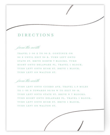 This is a black, grey Direction Cards by Stacey Meacham called So in Love with Foil Pressed printing on Signature in Card Flat Card format. An elegant wedding invitation with large love calligraphy and romantic flourishes.