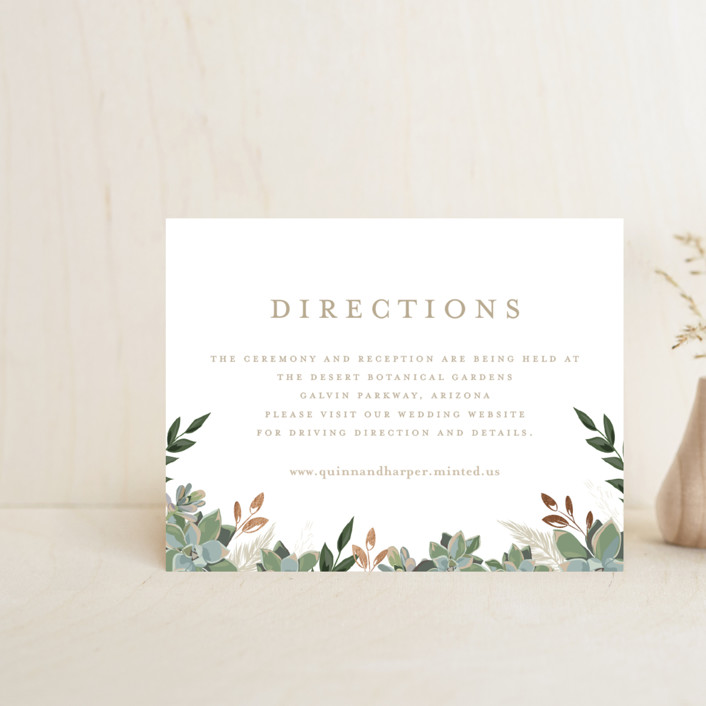 """""""Succulent Surround"""" - Foil-pressed Direction Cards in Cloud by Susan Moyal."""