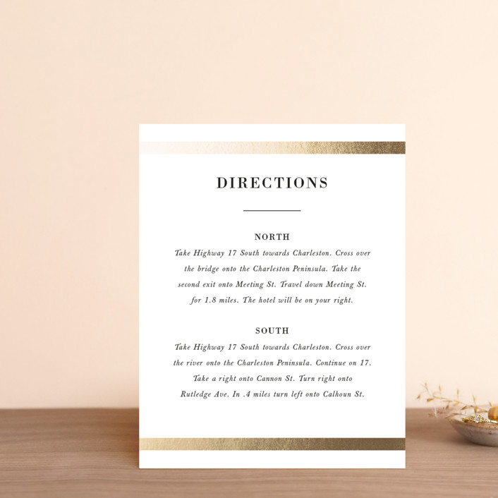 """""""Classic Monogram"""" - Foil-pressed Direction Cards in Snow by Stacey Meacham."""