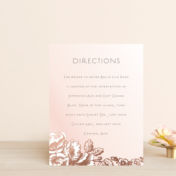 """Gilded Garden"" - Foil-pressed Direction Cards in Blush by Snow and Ivy."