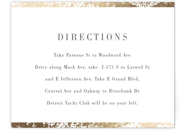 This is a gold Direction Cards by Snow and Ivy called Fleck with Foil Pressed printing on Signature in Card Flat Card format. Organic speckled foil design creates elegant border for this elegant, typography based wedding invitation.