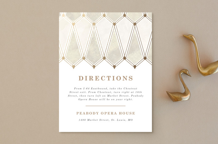"""Deco Opulence"" - Foil-pressed Direction Cards in Champagne by Rebecca Durflinger."