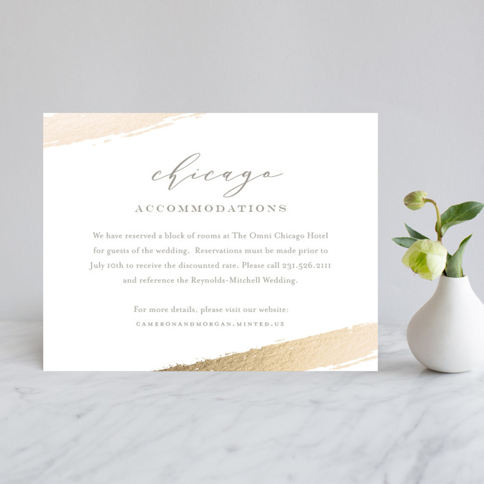 """Lovely Beginning"" - Foil-pressed Direction Cards in Champagne by Oscar & Emma."
