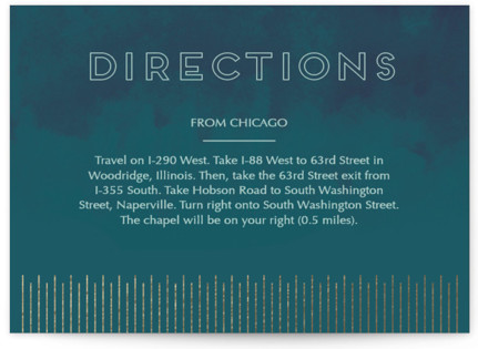 Sunburst Foil-Pressed Direction Cards