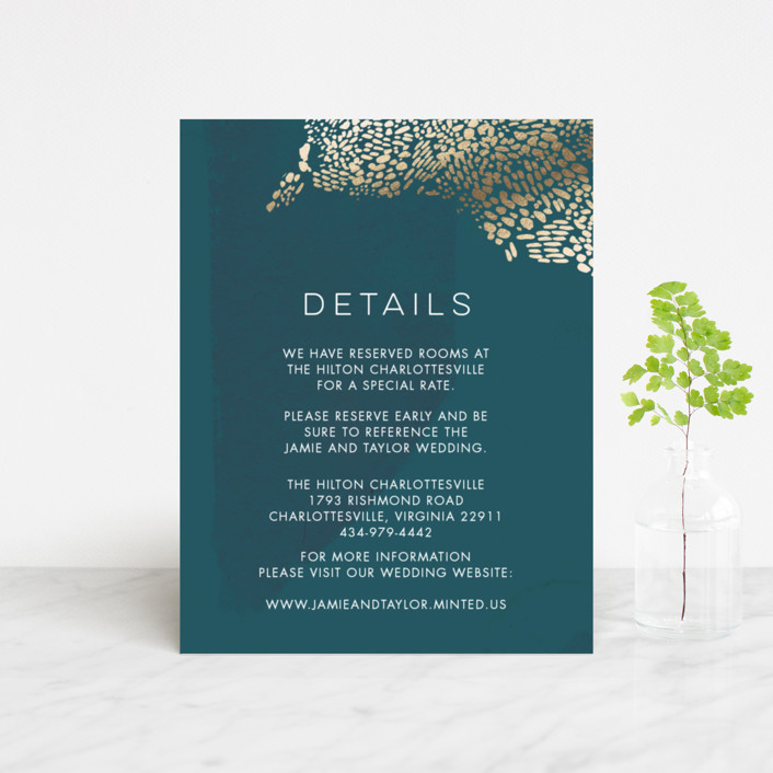 """Deep Ocean Currents"" - Foil-pressed Direction Cards in Teal by Makewells."