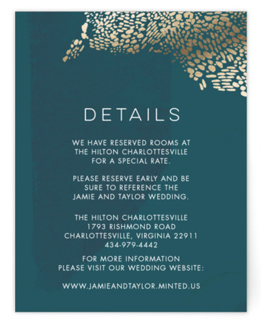 This is a green, blue, gold Direction Cards by Makewells called Deep Ocean Currents with Foil Pressed printing on Signature in Card Flat Card format. This foil pressed wedding invitation features organic markings on a deep sea inspired hand painted ...