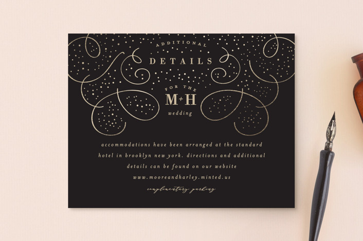 """Glitz"" - Foil-pressed Direction Cards in Noir by Lori Wemple."