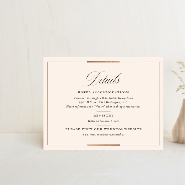 """Cambridge"" - Foil-pressed Direction Cards in Ivory by Meagan Christensen."