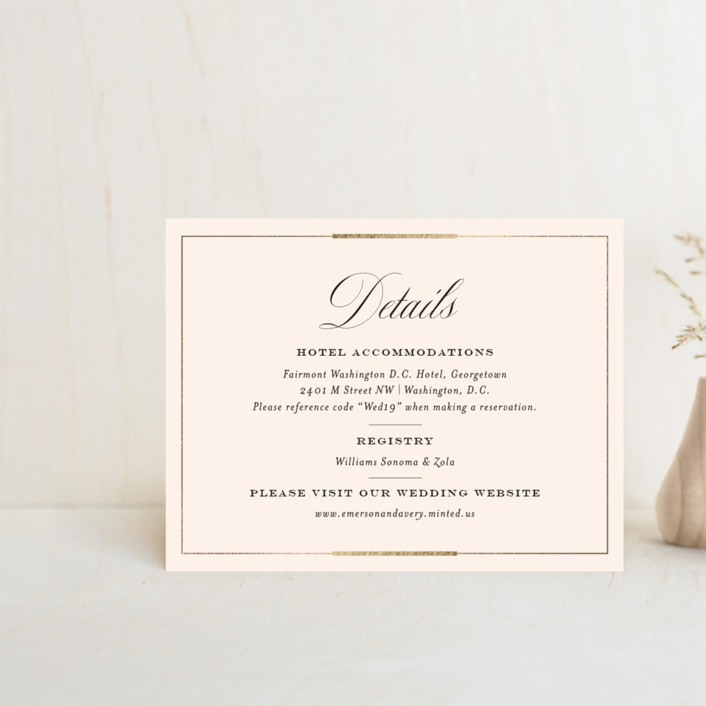 """Cambridge"" - Foil-pressed Direction Cards in Ivory by Little Words Design."