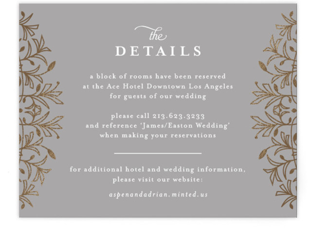 This is a grey, gold Direction Cards by Melanie Kosuge called EMERY with Foil Pressed printing on Signature in Card Flat Card format. A sophisticated wedding invitation featuring elegant, hand drawn illustration work and pattern design.