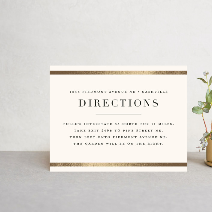 """""""Bold Classic"""" - Foil-pressed Direction Cards in Gold by Jessica Williams."""