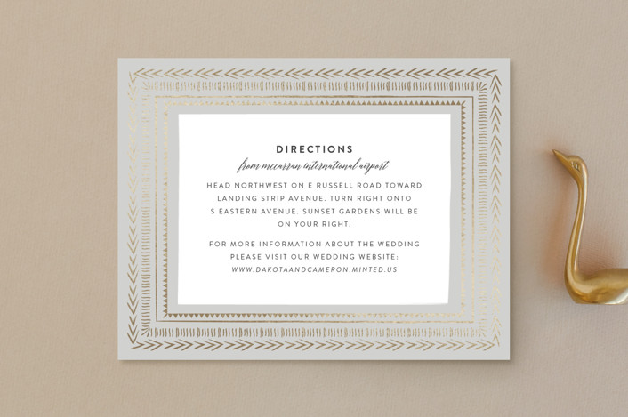 """Gilded Chevron"" - Foil-pressed Direction Cards in Dove Grey by Joanna Griffin."