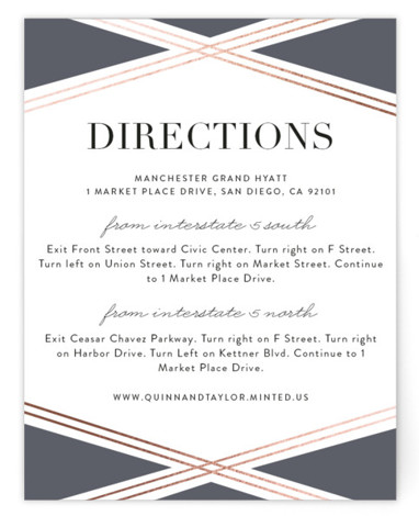 This is a grey, rosegold Direction Cards by Erica Krystek called Modern Ribbon with Foil Pressed printing on Signature in Card Flat Card format. This elegant design features charming gold lines paired with a neutral palette and clean typography.