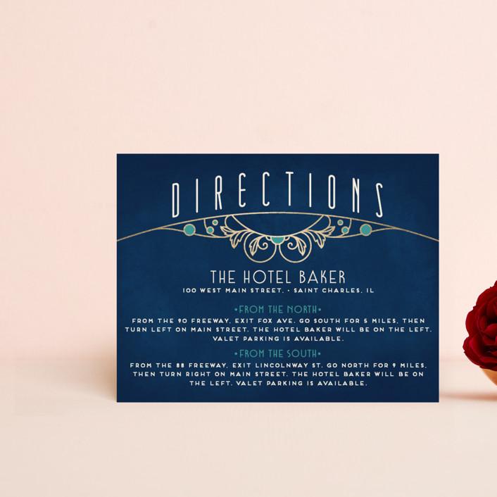 """Ornate Deco"" - Foil-pressed Direction Cards in Goldenrod by GeekInk Design."