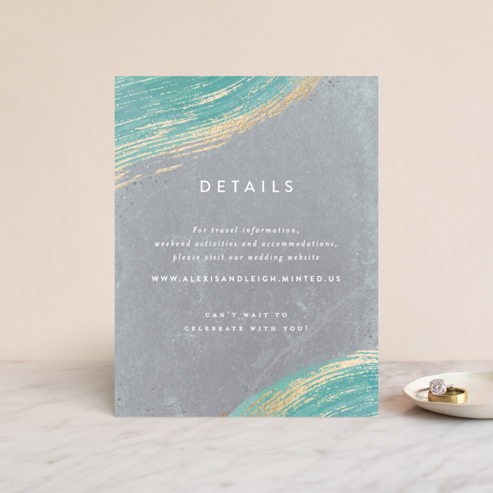"""Abstract Splendor"" - Foil-pressed Direction Cards in Turquoise by Hooray Creative."